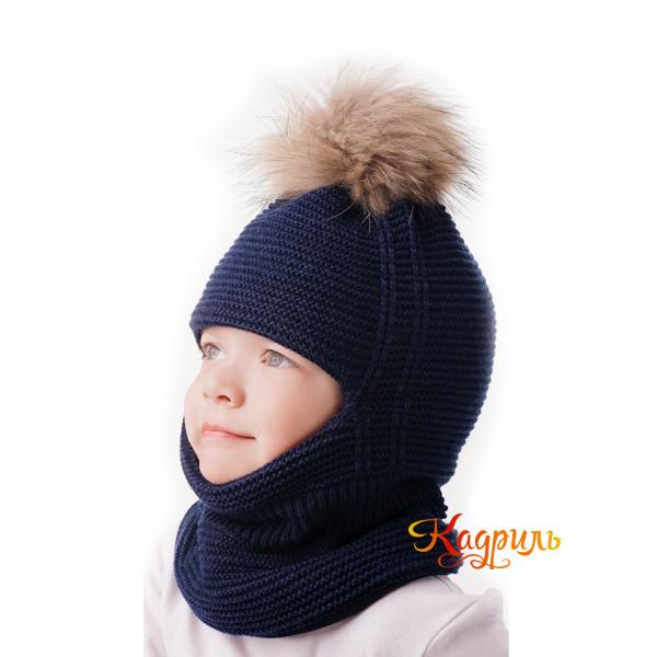 Шапка-шлем для мальчика с помпоном. Рис. 2
