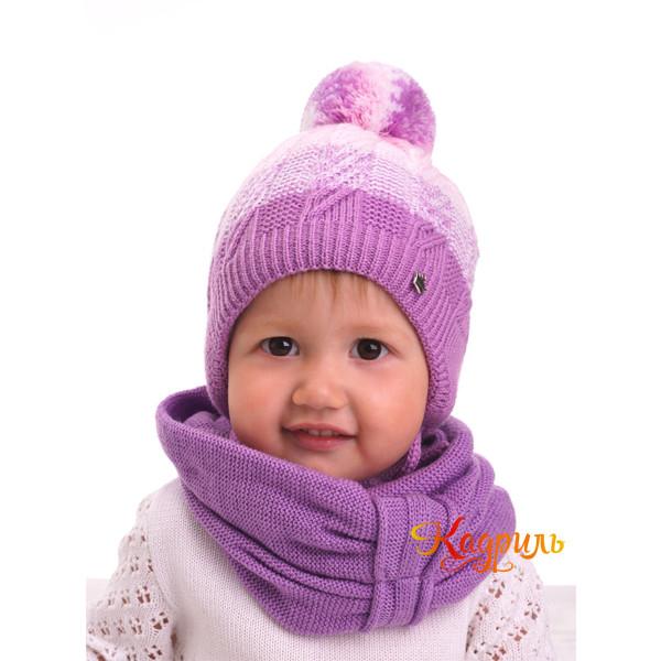Шапка детская утеплённая с помпоном. Рис. 1