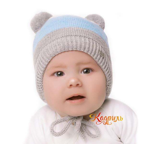 Детская шапка с помпонами зимняя. Рис. 4