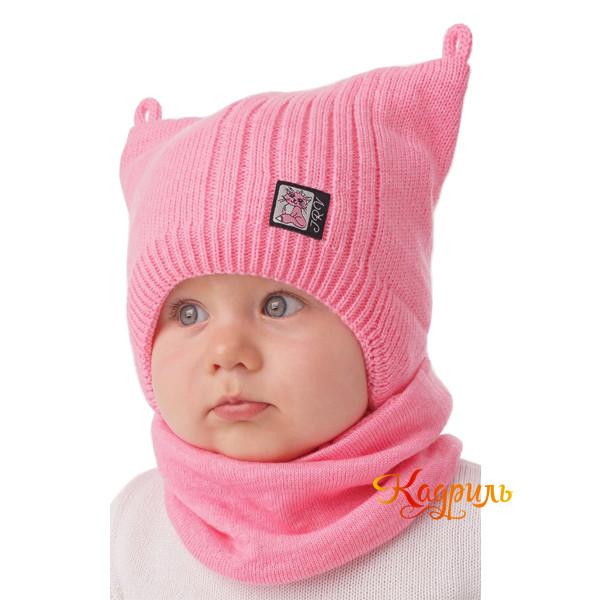 Детская вязаная шапка с ушками. Рис. 1