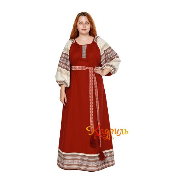 Платье славянское Аделя вишневое. Рис. 1