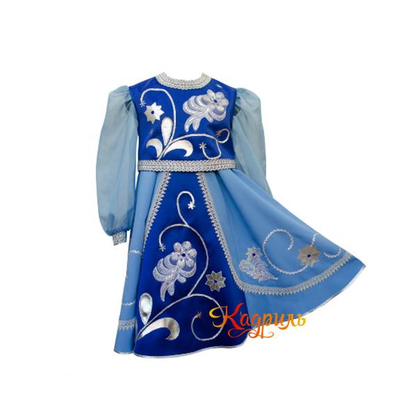 Платье народное детское синее. Рис. 1