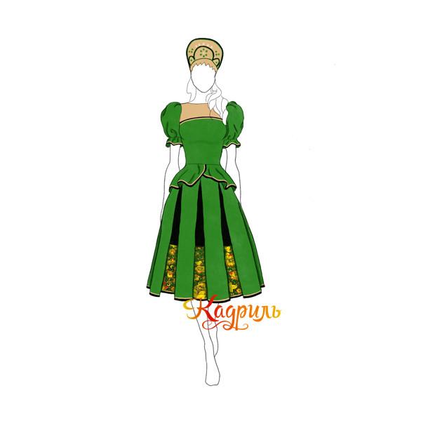 Русский народный костюм зелёный. Рис. 1