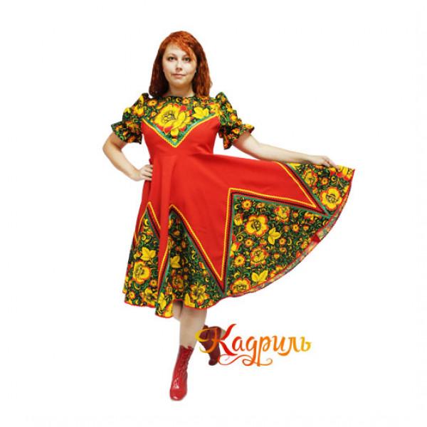 Русское народное платье с цветами. Рис. 2