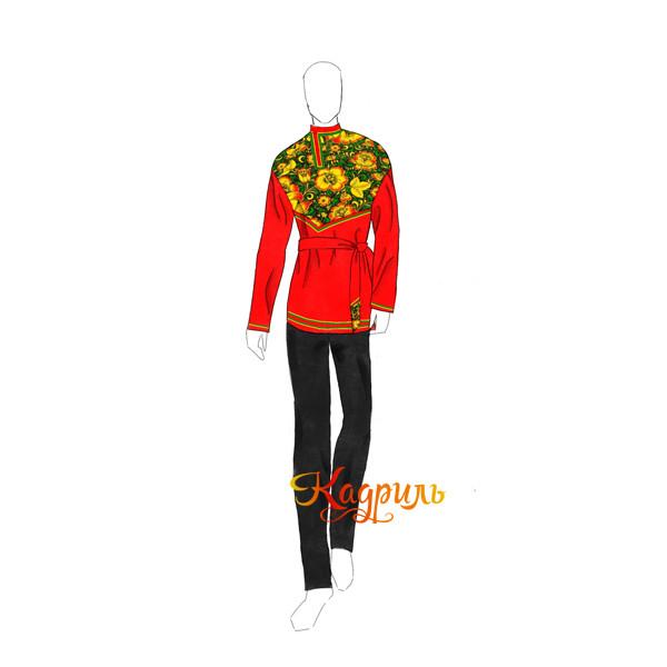 Косоворотка красная с цветами. Рис. 1