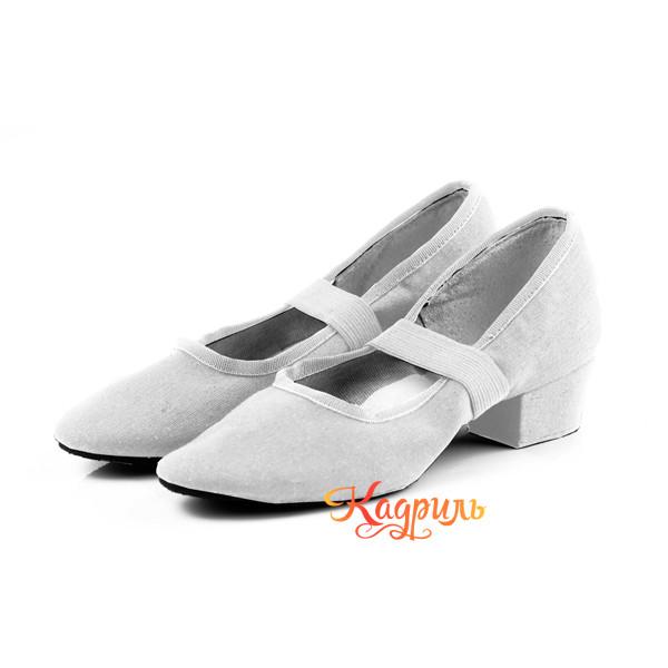 Туфли для танца народные тканевые белые 1