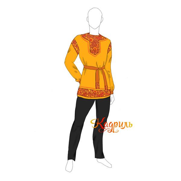Рубашка народная оранжевая. Рис. 1