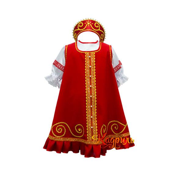 Костюм народный детский красно-золотой. Рис. 1