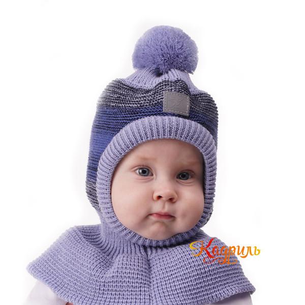 Шапка капор для мальчика с помпоном. Рис. 1