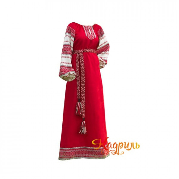 Платье славянское Аделя красно-зелёное. Рис. 1