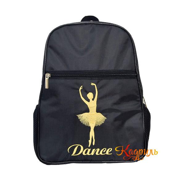 Рюкзак для девочки с балериной черный. Рис. 1