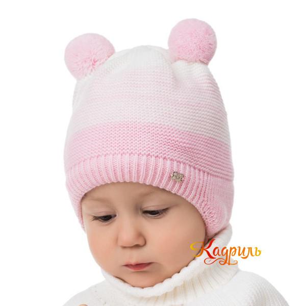 Детская шапка с помпонами зимняя. Рис. 1