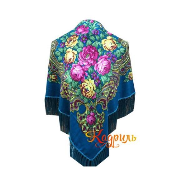 Платок русский синий. Рис. 1