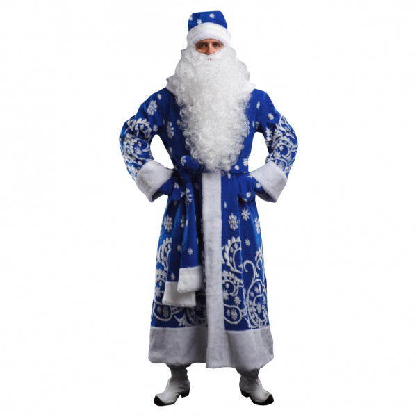 Костюм Деда Мороза синий с мехом. Рис. 1