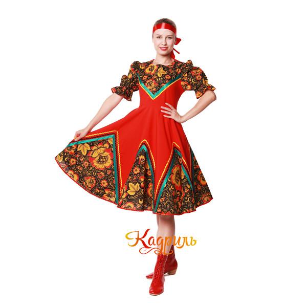 Русское народное платье с цветами. Рис. 1