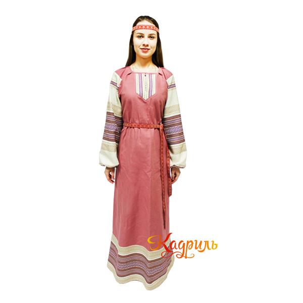 Платье славянское Ася брусничное. Рис. 3