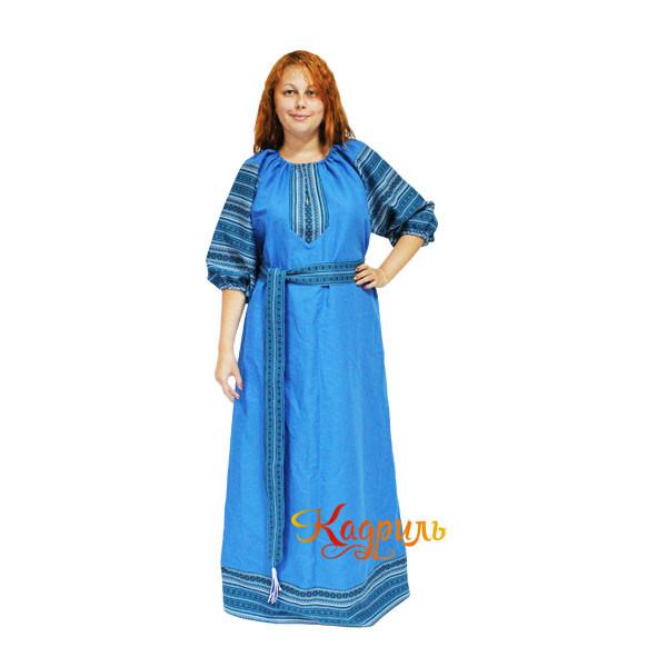 Платье славянское Ася ярко-бирюзовое. Рис. 1