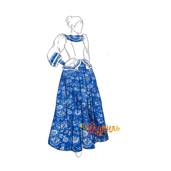 Русский народный костюм сине-белый. Рис. 1