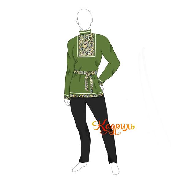 Рубашка народная зелёная. Рис. 1