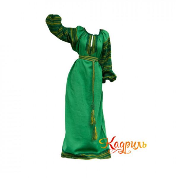 Платье славянское Ася ярко-зелёное. Рис. 1