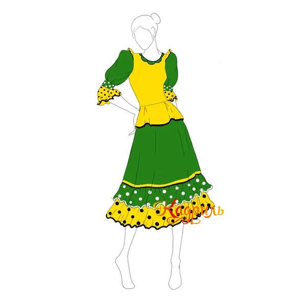 Костюм танцевальный в горох зеленый. Рис. 6