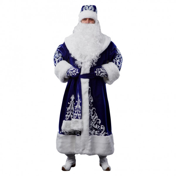 Костюм Деда Мороза из велюра синий. Рис. 1