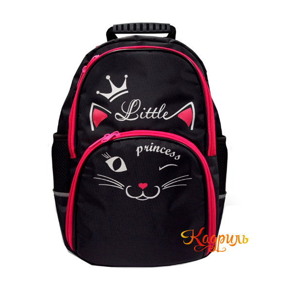 Рюкзак для девочки с розовой кошкой. Рис. 1