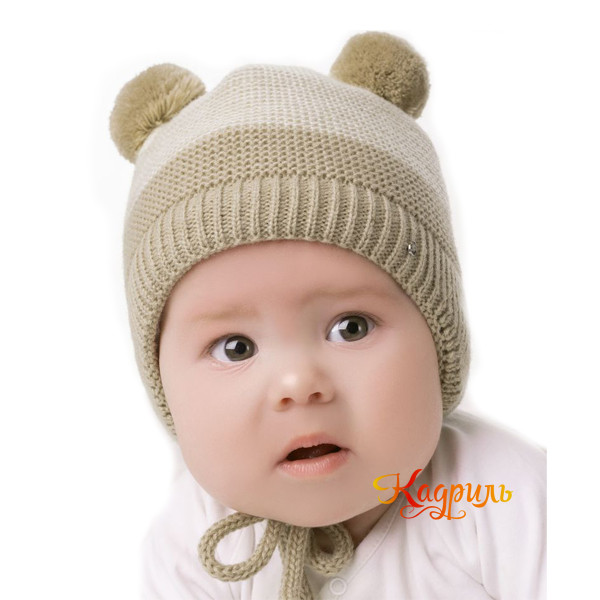 Детская шапка с помпонами зимняя. Рис. 2