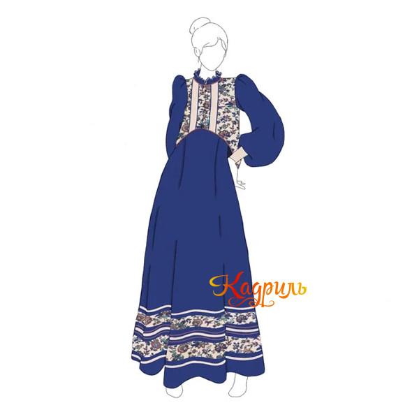 Русский народный костюм бежево-синий. Рис. 1