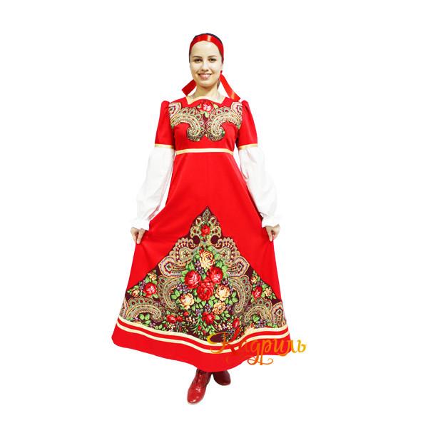 Платье с русским платком. Рис. 1
