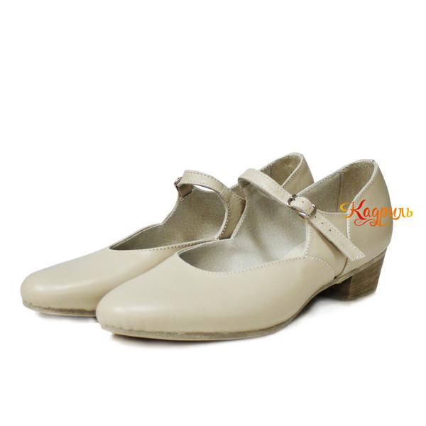 Туфли женские для народно характерного танца бежевые . Рис. 1