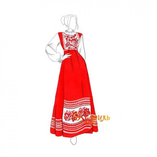 Платье в русском народном стиле. Рис. 1