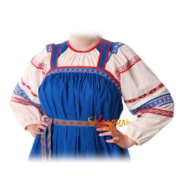 Русский народный сарафан синий. Рис. 2
