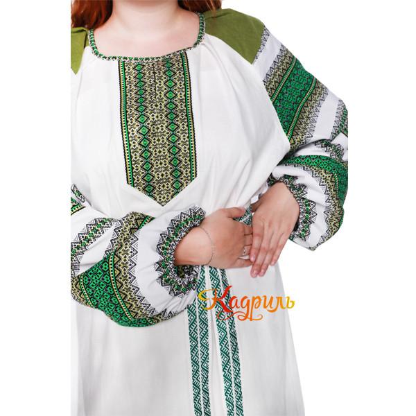 Платье славянское Ася зелёно-белое. Рис. 4