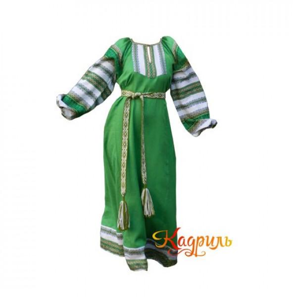 Платье славянское Ася темно-зеленое. Рис. 1