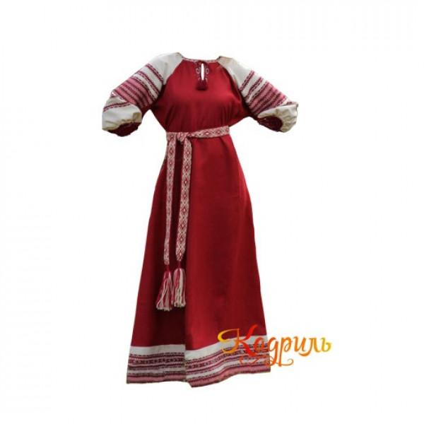 Платье славянское Ася бордовое. Рис. 1