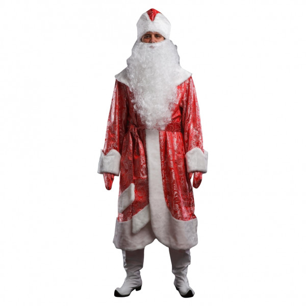 Костюм Деда Мороза красный с узорами. Рис. 1