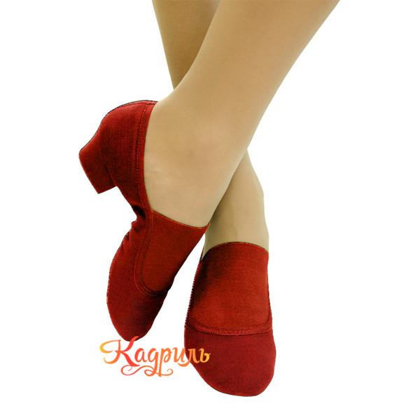 Туфли для танца народные тканевые красные 2