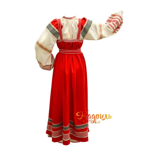 Русский народный сарафан красный. Рис. 2