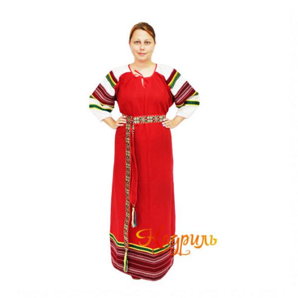 Платье славянское Ася ярко-красное. Рис. 1
