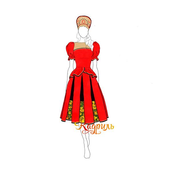 Русский народный костюм красный. Рис. 1