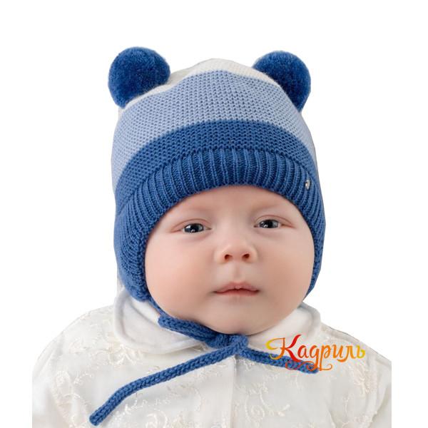 Детская шапка с помпонами зимняя. Рис. 3