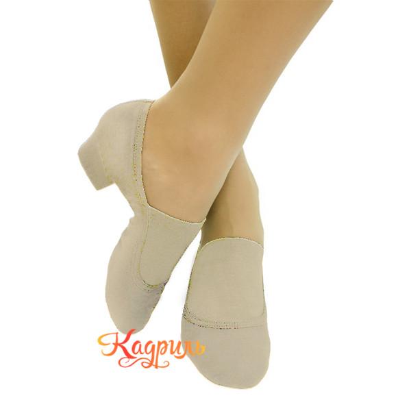 Туфли для танца народные тканевые телесного цвета 2. Рис. 1