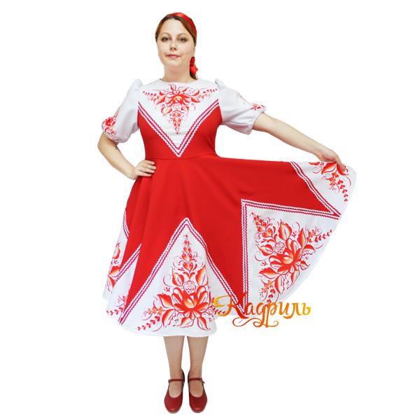 Платье народное красное. Рис. 2