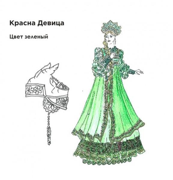 Эскиз танцевального народного костюма. Рис. 1