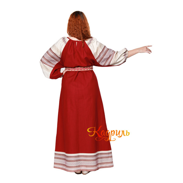 Платье славянское Аделя вишневое. Рис. 3