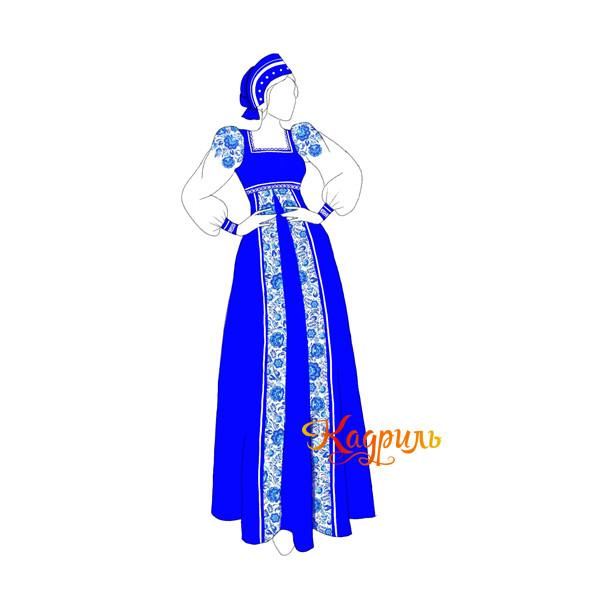 Русский народный костюм темно-синий. Рис. 1