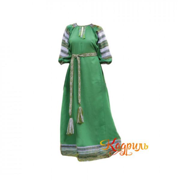 Платье славянское Аделя зелёное. Рис. 1