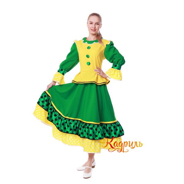 Костюм танцевальный в горох зеленый. Рис. 1
