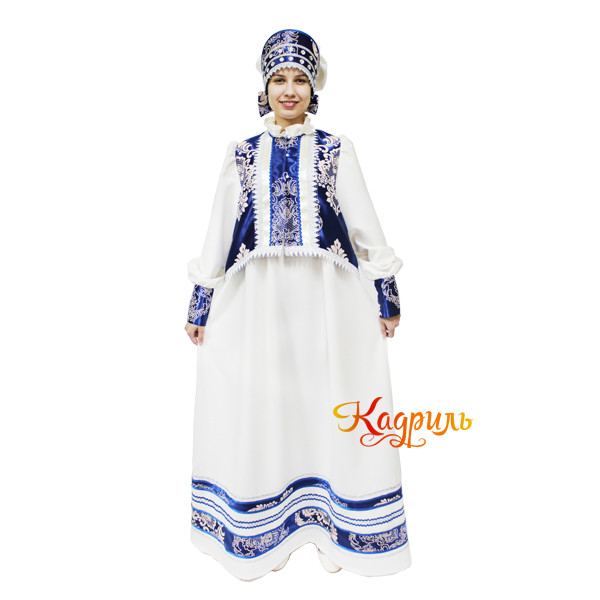 Русский народный костюм бежево-синий. Рис. 2